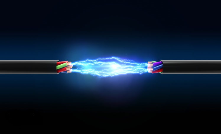 Electrical spark between two wires